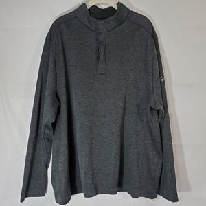 Greg Norman Sweater Gray Marled 1/4 Button Top XXL
